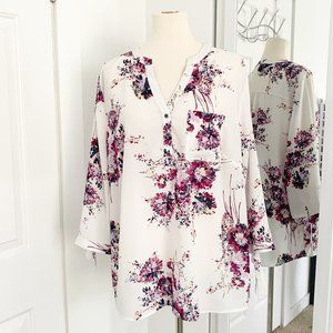 Women's Maurice's XL White Floral Tunic